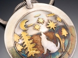 Gold Clay Pendant By Claudia S Atkins.